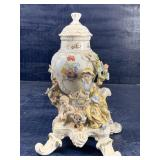 DRESDEN FOOTED FIGURAL URN WITH LID
