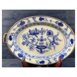 OVAL FLOW BLUE  / METAL WARMING BASE TRAY WITH