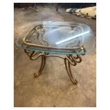 GLASS TOP IRON BASE SIDE TABLE