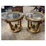 MID CENTURY ITALIAN HEAVY CARVED GLASS TOP TABLES