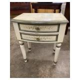 PAINT DECORATED TWO DRAWER END TABLE