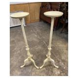 PAINTED QUEEN ANNE CANDLE STANDS