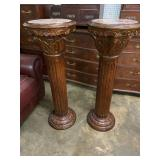 PAIR OF MAHOGANY CARVED PEDESTALS W/ MARBLE