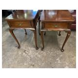 PAIR OF MAHOGANY Q. A. BENCH MADE ONE DRAWER
