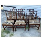 SET OF 6 SOLID MAHOGANY STRAIGHT LEG CHIPPENDALE