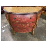 PAINT DECORATED 3 DRAWER HALF ROUND COMMODE