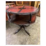 MAHOGANY 2 TIER LEATHER TOP TABLE