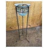 IRON PLANT STAND W/ BLUE CRACKLE GLASS BOWL INSERT
