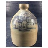 VINTAGE BEAUMONT POTTERY MAINE BLUE DECORATED