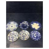 LOT OF 6 ANTIQUE FLOW BLUE PLATES:  NICE LOT OF 6