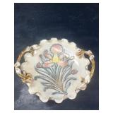 LARGE ITALY DECORATED RUFFLED CONSOLE BOWL: NICE