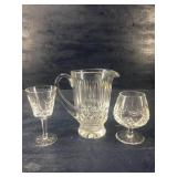 WATERFORD CRYSTAL PITCHER -BRANDY SNIFFER -WINE