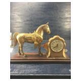 VINTAGE LANSHIRE ELECTRIC HORSE CLOCK ON BASE: