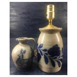 VINTAGE BLUE MARK LAMP AND PITCHER SIGNED: ROWE