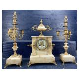 ANTIQUE JAPY FRERES CLOCK AND CANDLE GARNITURE SET