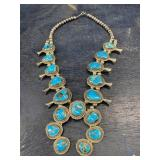 VINTAGE STERLING TURQUOISE SQUASH BLOSSOM NECKLACE