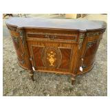 FRENCH INLAID BRONZE ADORNED HALF ROUND COMMODE