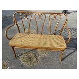 OAK BENTWOOD BENCH WITH CANE SEAT