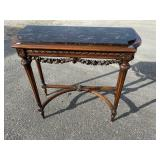 ANTIQUE, CARVED FRENCH MARBLE TOP CONSOLE TABLE