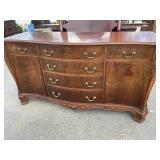 MAHOGANY CARVED BUFFET SERPENTINE BUFFET;