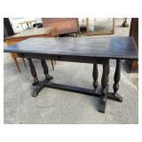 MAHOGANY TRIPLE COLUMN BASE DAVENPORT TABLE
