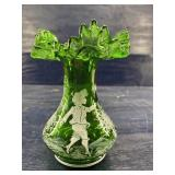 VINTAGE FOREST GREEN MARY GREGORY VASE HAND