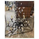 IRON AND GLASS DESIGNER CHANDELIER