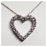 Silver Simulated Alexandrite Cubic Zirconia Heart