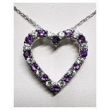 Silver Natural Amethyst Cubic Zirconia Heart