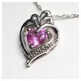 Silver Created Pink Sapphire Heart Shaped Pendant