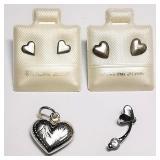 Silver Cubic Zirconia Set of Stud Earrings,