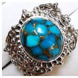 """Silver Turquoise """"Antique Design"""" (6.5 g) Ring,"""