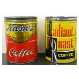2 Vintage Key Wind Coffee Tins - Nash