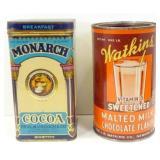 Vintage Monarch Hinged Lid Cocoa Tin & Watkins