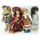 * 4 Porcelain Faced Dolls - 1 Jester