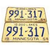Pair of 1954 Minnesota License Plates