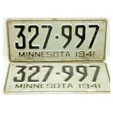 Pair of 1941 Minnesota License Plates
