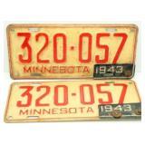 Pair of 1943 Minnesota License Plates