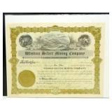 Wisdom Silver Mining Company Stock Certificate -