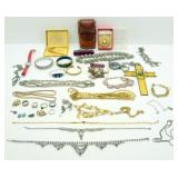 Box of Costume Jewelry, Pocket Watch, Etc.