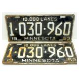 Matched Pair of 1953 Minnesota License Plates