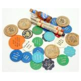 Vintage Plastic Beer Chips, Opener, Pencils