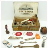 Cigar Box with Vintage Beer Openers, Keychains,