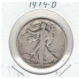 1919-D Walking Liberty Silver Half Dollar