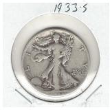 1933-S Walking Liberty Silver Half Dollar