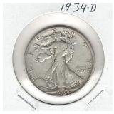 1934-D Walking Liberty Silver Half Dollar