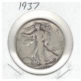 1937 Walking Liberty Silver Half Dollar