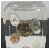 1964 Uncirculated Coin Set in Acrylic Cube - 90%
