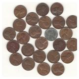 25 Lincoln Wheat Cents - 1935, 1940, 1940-S,