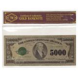 24k Gold Foil $5000 Banknote w/ COA